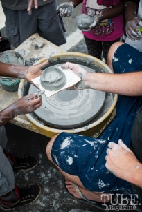 Making ceramic bowls at the Crocker Block by Block Party in District 5, July 9, Sacramento CA. Photo Melissa Uroff