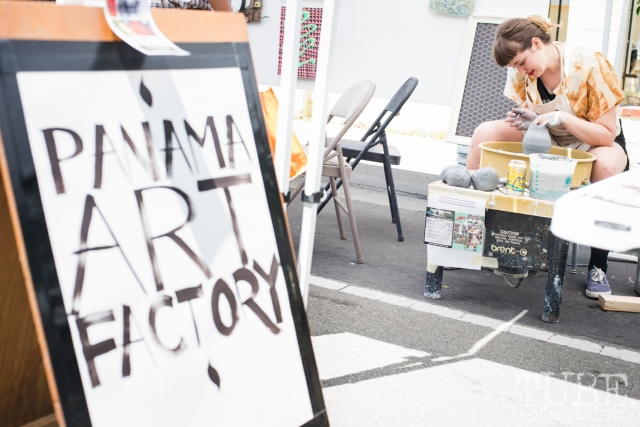 Clarissa Pezone creating ceramic pieces at the Crocker Block by Block Party in District 5, July 9, Sacramento CA.   Photo Melissa Uroff