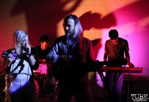 Vocalist Alexandra Steele, Vocalist/Guitarist Geoffrey CK, Drummer Omar Gonzalez, and Keyboardist Zack Hake of Sunmonks, Red Museum, Sacramento, CA. July 17, 2016. Photo Anouk Nexus