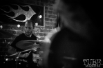 Patrick Shelley playing drums, Pets CD Release show, Hideaway, 8/20/16. Photo: Charles Gunn