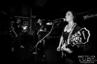 Guitarist/vocalist Allison Jones & Bassist Vocalist Derek Fieth of Pets, Pets CD Release show, Hideaway, 8/20/16. Photo: Charles Gunn