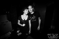 Guitarist/vocalist Allison Jones, Bassist Vocalist Derek Fieth of Pets, Pets CD Release show, Hideaway, 8/20/16. Photo: Charles Gunn