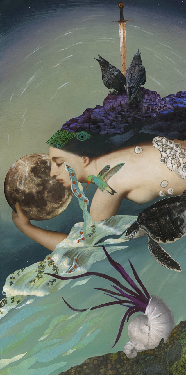 """Lover Moon by Angela Tannehill. 2016 12"""" x 24"""" mixed media on cradled panel board"""