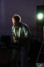 Saxophonist Randy McKean of Pac and Seep, Sac Stay Home Fest, Red Museum, Sacramento, CA. August 13, 2016. Photo Anouk Nexus