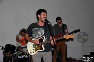 Vocalist/Guitarist Charles Dale, Bassist Cory Barringer, and Drummer of Dog Rifle, Sac Stay Home Fest, Red Museum, Sacramento, CA. August 13, 2016. Photo Anouk Nexus