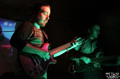 Guitarist Corey Bakarich and Bassist Addison Quarles of The Happy Medium, Sac Stay Home Fest, Red Museum, Sacramento, CA. August 13, 2016. Photo Anouk Nexus