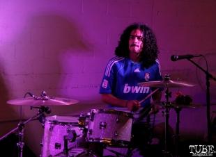 Drummer Omar Gonzalez-Barajas of Privileges , Sac Stay Home Fest, Red Museum, Sacramento, CA. August 13, 2016. Photo Anouk Nexus