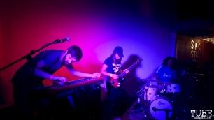 Keyboadist/Guitarist Zach Hake, Bassist, and Drummer Omar Gonzalez-Barajas of Privileges, Sac Stay Home Fest, Red Museum, Sacramento, CA. August 13, 2016. Photo Anouk Nexus