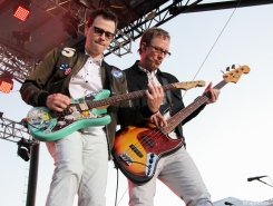 Vocalist/Guitarist Rivers Cuomo and Bassist Scott Shriner of Weezer, City of Trees, Bonney Field, Sacramento, CA. September 10, 2016. Photo Anouk Nexus
