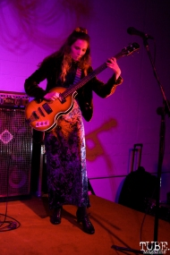 Sarah La Puerta on bass for Tele Novella, Red Museum, Sacramento, CA. December 07, 2016. Photo Anouk Nexus