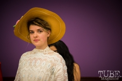 Model Chelsea Holmes behind the scenes of the fashion show at Vintage Swank ArtMix, Crocker Art Museum, March 2017. Photo Melissa Uroff