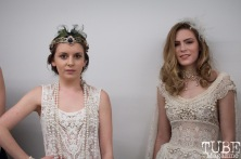 Daniel Laukat Couture models pose as they prepare for the runway at Vintage Swank ArtMix, Crocker Art Museum, March 2017. Photo Heather Uroff