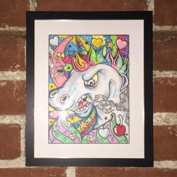 Artwork by Micah Young at TUBE.'s dance party and coloring book issue release, DOPE. The Press Club, Sacramento CA. April 2017.