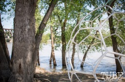 Dan Tran's art made with irrigation tubing, at First Fest, in West Sacramento CA. May 2017. Photo Heather Uroff.