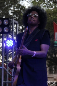Guitarist Bobby G Gonzales of Joy and Madness, Concerts in the Park, Cesar Chavez Park, Sacramento, CA. July 21, 2017. Photo Anouk Nexus