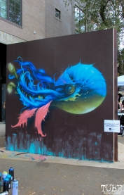 Collaborative piece by artists Molly Devlin and S.V. Williams R Street Block Party and Makers Mart, WAL Public Market, Sacramento, CA. June 24, 2017. Photo Anouk Nexus