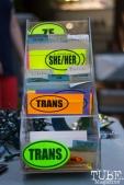 Pronoun stickers in Sacramento CA for Ladyfest. July 22, 2017. Photo Cam Evans