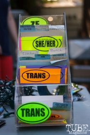Pronoun stickers in Sacramento CA for Ladyfest. July 22, 2017. Photo Cam Evans