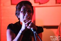 Marisol Ramirez, vocals for Las Pulgas, in Sacramento CA for Ladyfest. July 21, 2017. Photo Cam Evans