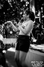 Alexia Roditis, of Destroy Boys performs on stage at Concert in the Park in Sacramento, CA. June 2017.