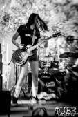 Guitarist, Vi Mayugba, of Destroy Boys jamming at Concert in the Park, in Sacramento Ca. June 2017. Photo Heather Uroff.