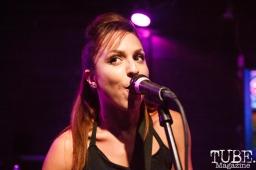 Jen Razavi of The Bombpops at The Press Club in Sacramento, CA. August 10,2017. Photo: Cam Evans