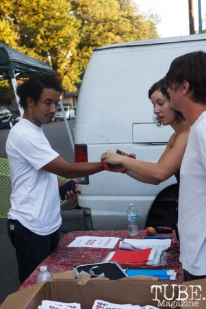 Derek Lynch of Hobo Johnson and The Lovemakers getting his ticket at The Red Museum for Red Ex Volume 1 in Sacramento, CA (8-26-2017). Photo Cam Evans