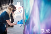Artist Jenn Ponci, City of Trees, Papa Murphys Park, Sacramento CA, September 24, 2017 Photo Melissa Uroff