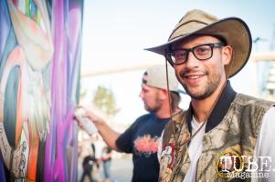 Artist Arturo Romero, City of Trees, Papa Murphys Park, Sacramento CA, September 24, 2017 Photo Melissa Uroff