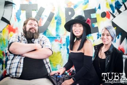 Artists Gabe Stanford (left), Lin Fei Fei and Athena Alber, City of Trees, Papa Murphys Park, Sacramento CA, September 24, 2017 Photo Melissa Uroff