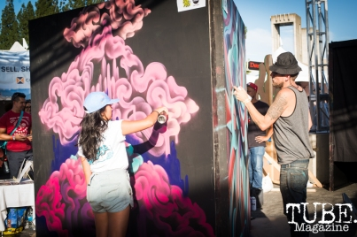 Artists Francesca Gomez and Shaun Burner, City of Trees, Papa Murphys Park, Sacramento CA, September 24, 2017 Photo Melissa Uroff