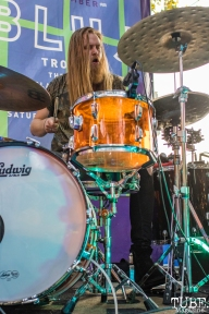 Drummer Christian Midthun of Trophii, THIS is Midtown, 20th street, Sacramento, CA. September 9, 2017. Photo Mickey Morrow