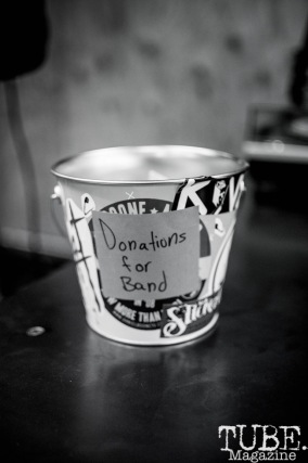 The Donation bucket at Phono Select Records, in Sacramento CA. September 2017. Photo Heather Uroff.