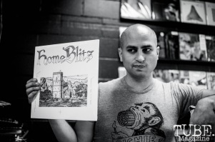 Daniel of Home Blitz performing at Phono Select Records, in Sacramento CA. September 2017. Photo Heather Uroff.