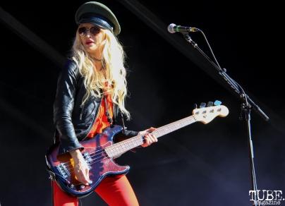 Bassist Jennie Vee of Eagles Of Death Metal, Aftershock, Discovery Park, Sacramento, CA. October 21, 2017. Photo Anouk Nexus