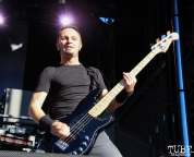 Bassist Jean-Michel Labadie of Gojira, Aftershock, Discovery Park, Sacramento, CA. October 21, 2017. Photo Anouk Nexus