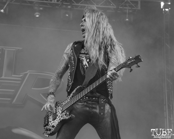 Bassist Lexxi Foxx of Steel Panther, Aftershock, Discovery Park, Sacramento, CA. October 22, 2017. Photo Anouk Nexus