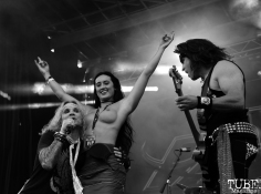 Audence member on stage with Steel Panther, Aftershock, Discovery Park, Sacramento, CA. October 22, 2017. Photo Anouk Nexus