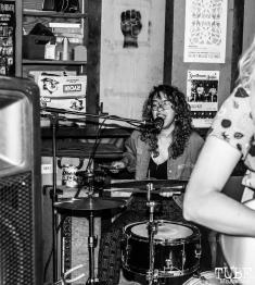 Drummer Izzi Vasquez of Sundae Crush Performing at Someone's House, Sacramento, CA. October 10, 2017. Photo Mickey Morrow
