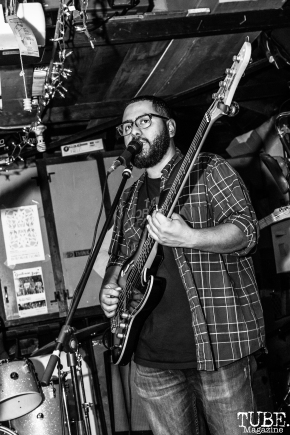Bassist Jesse Botello of Sundae Crush Performing at Someone's House, Sacramento, CA. October 10, 2017. Photo Mickey Morrow
