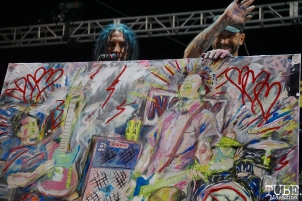 Art winner announcement by Eric Melvin of NOFX, Punk in Drublic Craft Beer and Music Festival at Papa Muphy's Park, Sacramento CA, October 15th 2017. Photo Joey Miller