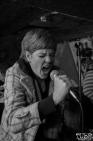 Meg Larkin vocalist of Spitting Roses performing at Casa de Chaos, in Sacramento Ca. December 15th 2017. Photo Anouk Nexus
