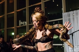 Snake Charmer Jessica Will, ArtMix Bohemia, Crocker Art Museum, Sacramento, CA. December 14th, 2017. Photo Mickey Morrow
