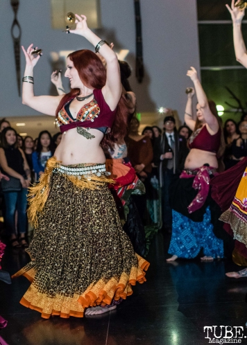 Unmata's tribal belly dancers, ArtMix Bohemia, Crocker Art Museum, Sacramento, CA. December 14th, 2017. Photo Mickey Morrow