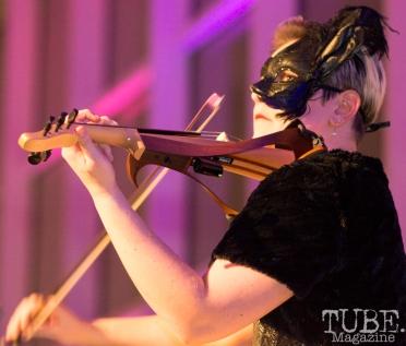 Violinist Sasha Tkacheff, Art Mix Masquerade, Crocker Art Gallery, Sacramento, CA January 11, 2018, Photo by Daniel Tyree