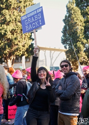 Niki Kangas and Micah Young in Southside Park during the Women's March, Sacramento CA. January 2018. Photo Joey Miller