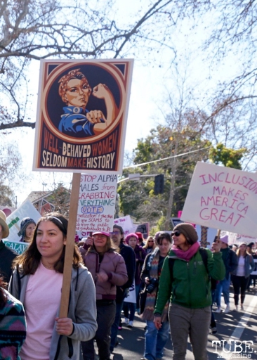 Zoe Maggio along the Women's March, Sacramento CA. January 2018. Photo Joey Miller