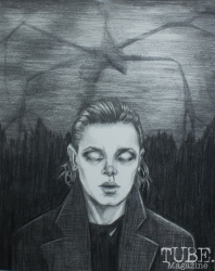 """""""11"""" in pencil for Menagerie's Stranger Things 2 Show at Outlet Co-working, Sacramento, CA January 27, 2018, Photo by Dan Tyree"""
