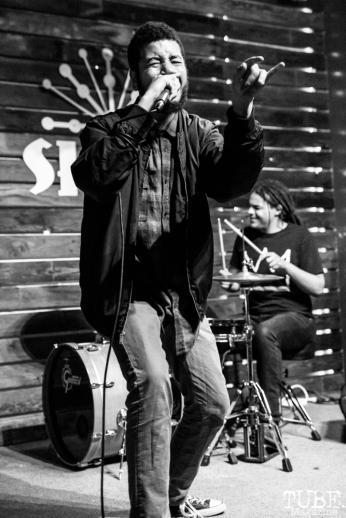 Tyler playing with Sparks Across Darkness, Shine, Sacramento, CA. February 2, 2018. Photo Mickey Morrow