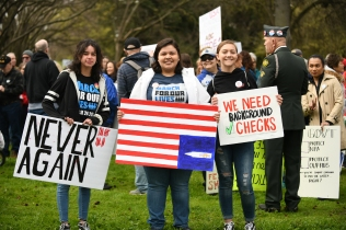 Marlene Amador, Emily Lopez, Caroline Hammond,The March For Our Lives, Sacramento CA, March 24, 2018. Photo Daniel Tyree